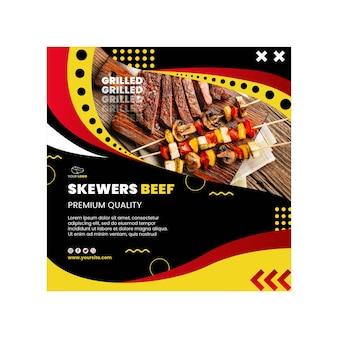 Conception de modèle de flyer carré barbecue