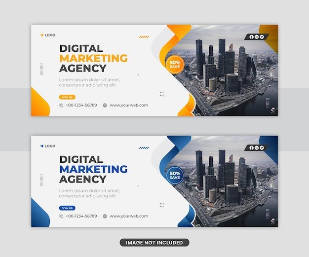 Conception de modèle de flyer de couverture facebook de bannière web de médias sociaux d'agence d'entreprise