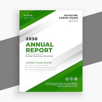 Conception de modèle de flyer d'entreprise rapport annuel vert