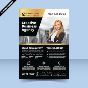 Conception de modèle de flyer en or noir d'agence de création d'entreprise