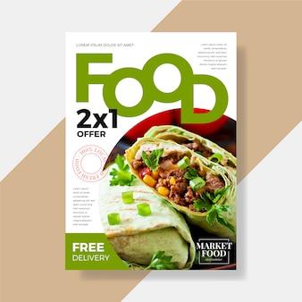 Conception de modèle de flyer de restaurant de nourriture saine