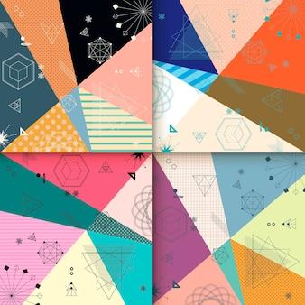 Conception de modèle de fond abstrait avec des éléments géométriques colorés