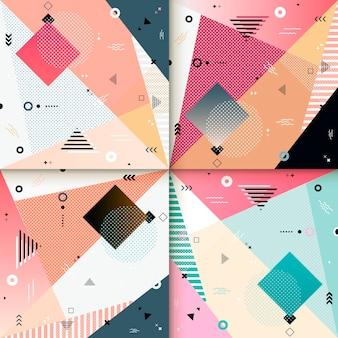 Conception de modèle de fond abstrait sertie d'éléments géométriques colorés