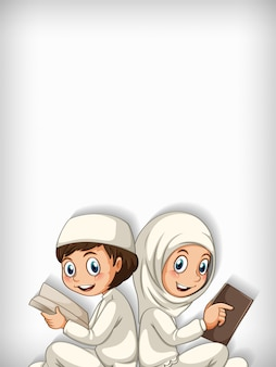 Conception de modèle de fond avec deux enfants musulmans lisant un livre