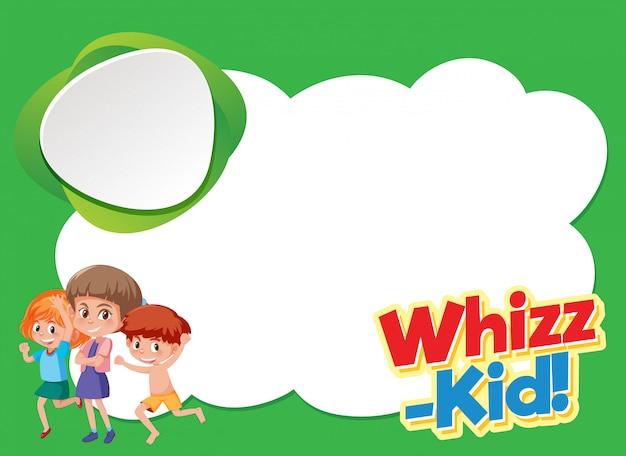 Conception de modèle de fond avec des enfants heureux et mot whiz-kid