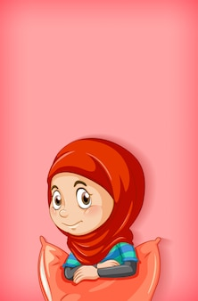 Conception de modèle de fond avec une fille musulmane heureuse en pyjama rouge