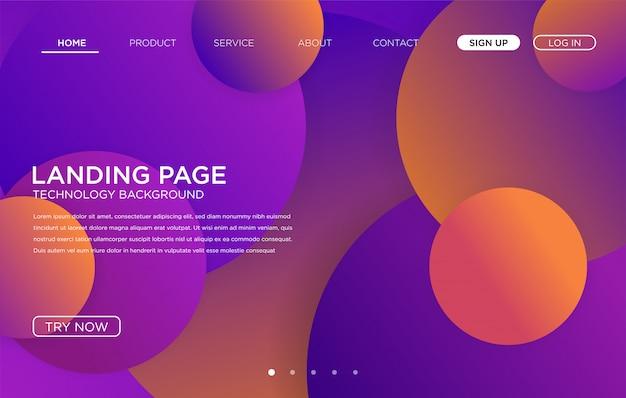 Conception de modèle de fond de page de destination coloré