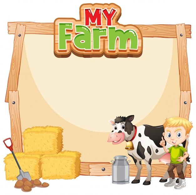Conception de modèle de frontière avec farmboy et vache