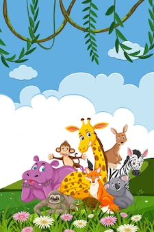 Conception de modèle de frontière avec de nombreux animaux sauvages en arrière-plan