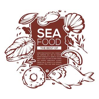 Conception de modèle de fruits de mer pour votre menu