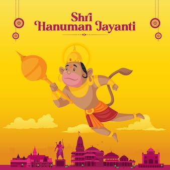 Conception de modèle graphique indien traditionnel hanuman jayanti