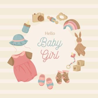 Conception de modèle de guirlande de cadre de douche de bébé avec des choses de bébé dans des couleurs de tons de terre pour fille