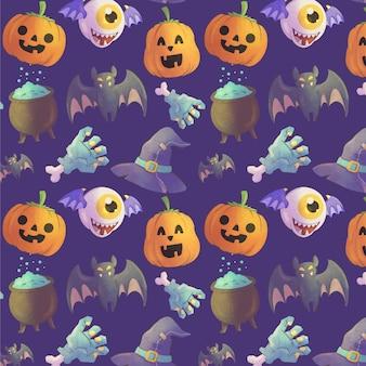 Conception de modèle halloween plat dessiné à la main