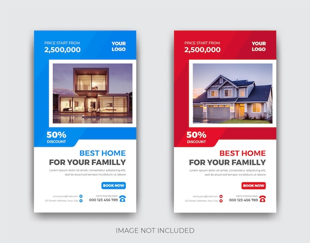Conception de modèle d'histoire d'instagram de vente de maison immobilière moderne