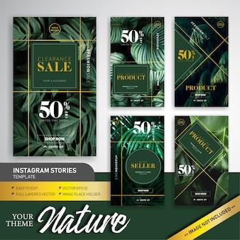 Conception de modèle d'histoire naturelle thème coloré vente vente instagram