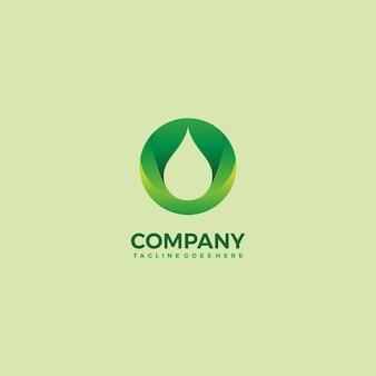 Conception de modèle d'icône verte et goutte d'eau