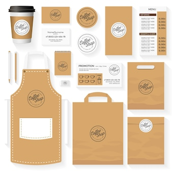 Conception de modèle d'identité de café sertie de logo de café