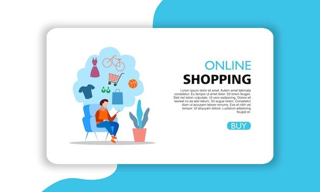 Conception de modèle d'illustration de bannière horizontale shopping