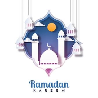 Conception de modèle d'illustration de carte de voeux ramadan kareem