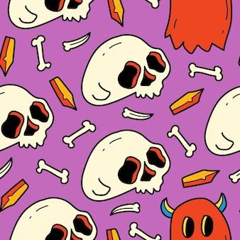 Conception de modèle d'illustration de dessin animé halloween doodle dessinés à la main