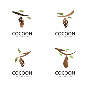 Conception de modèle d'illustration d'icône de vecteur de logo de cocon