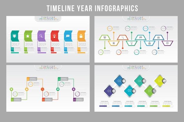 Conception de modèle d & # 39; infographie de l & # 39; année de la chronologie