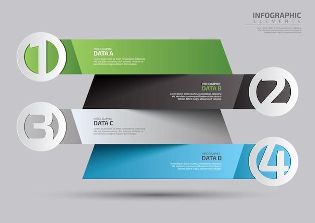 Conception de modèle d'infographie de chronologie d'étape colorée réaliste en quatre étapes