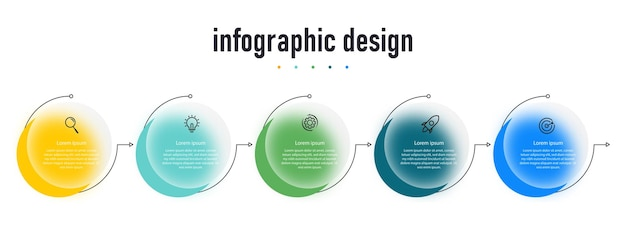 Conception de modèle d'infographie créative d'entreprise à effet de verre transparent