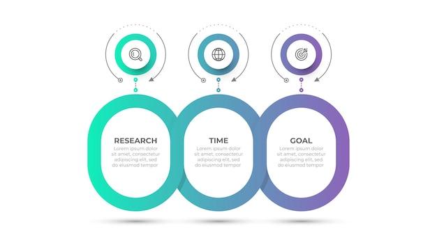 Conception de modèle d'infographie d'entreprise d'illustration vectorielle avec des icônes et 3 options