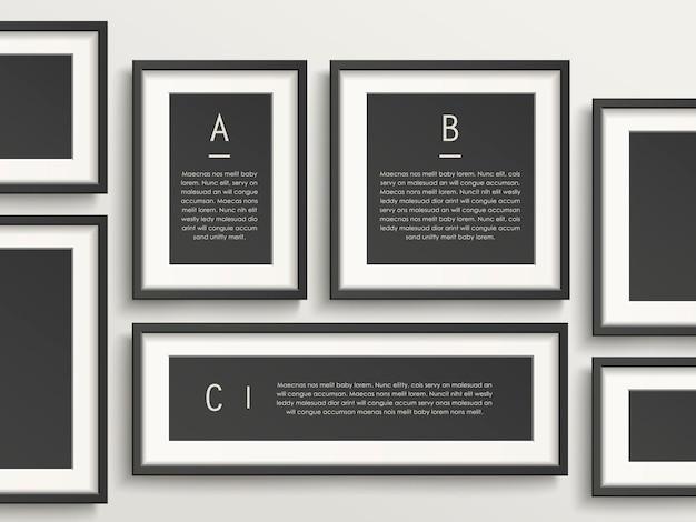 Conception de modèle d'infographie moderne avec des éléments de cadre photo