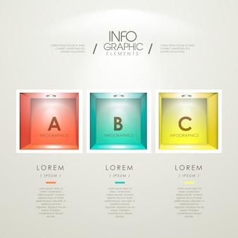 Conception de modèle d'infographie moderne avec des niches vides colorées