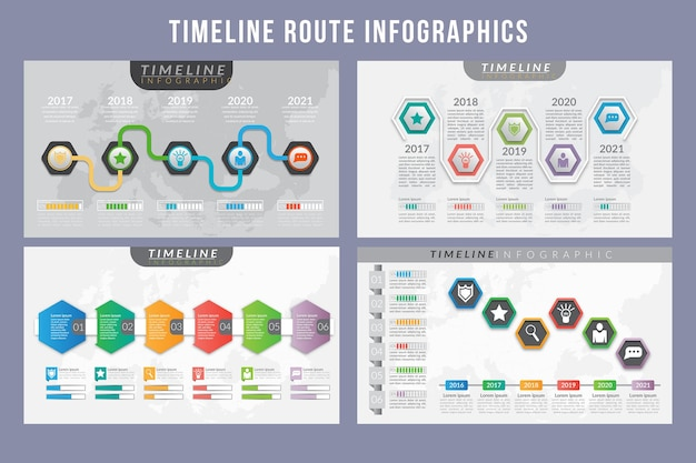 Conception de modèle d & # 39; infographie de route chronologique