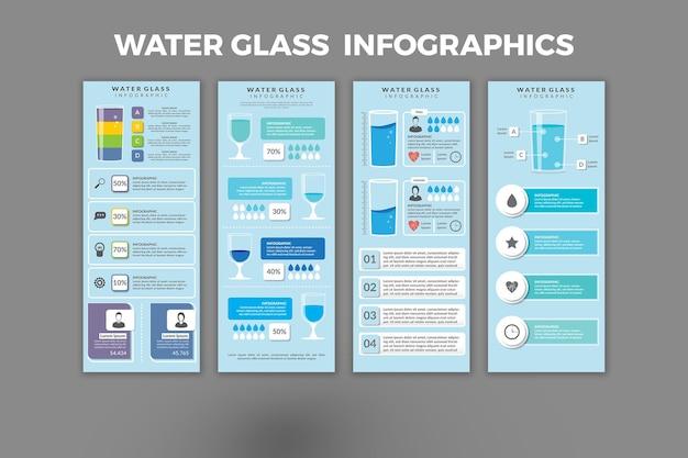 Conception de modèle d'infographie en verre d'eau