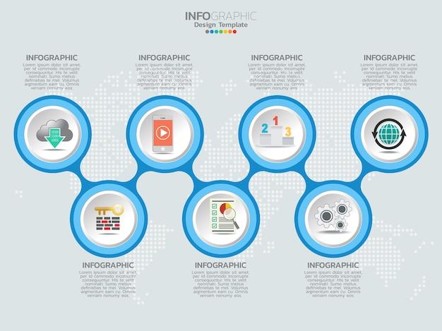 Conception de modèle infographique avec 7 options de couleur.