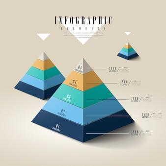Conception de modèle infographique attrayante avec des éléments de pyramide