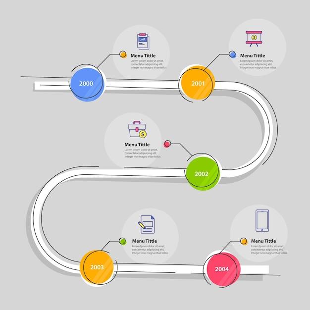 Conception de modèle infographique de chronologie