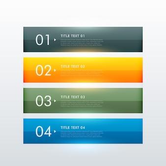 Conception de modèle infographique commercial à quatre étapes colorées et colorées