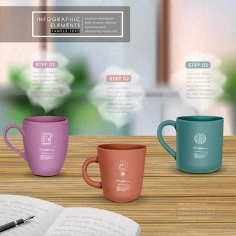 Conception de modèle infographique créatif avec des tasses sur une table en bois