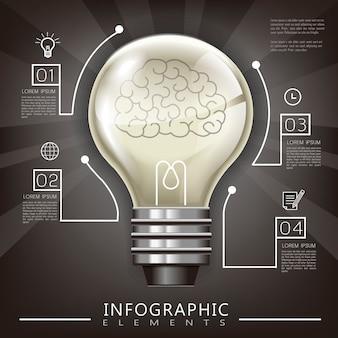 Conception de modèle infographique de l'éducation avec élément d'ampoule d'éclairage