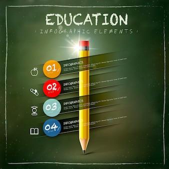 Conception de modèle infographique de l'éducation avec des éléments de crayon