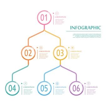 Conception de modèle infographique élégant avec des éléments de cercle de fine ligne