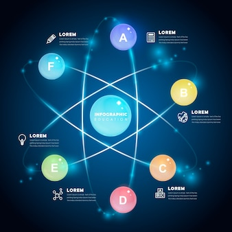 Conception de modèle infographique avec des éléments de boules brillantes