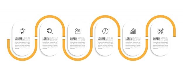 Conception de modèle infographique minimale avec numéros 6 options ou étapes.