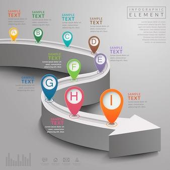 Conception de modèle infographique de simplicité avec extension de la route