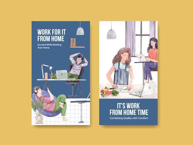 La conception de modèle instagram avec des gens travaille à domicile. concept de bureau à domicile aquarelle illustration vectorielle