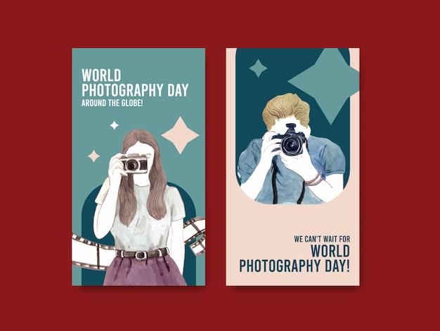 Conception de modèle instagram avec la journée mondiale de la photographie pour les médias sociaux et le marketing en ligne