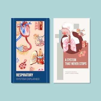 Conception de modèle instagram respiratoire avec anatomie humaine du poumon et soins sains