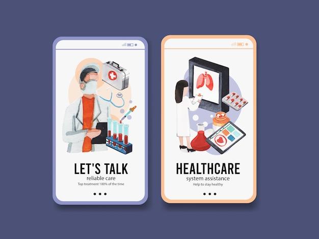 Conception de modèle instagram de soins de santé avec équipement médical et personnel médical et appareils hautement technologiques médecins et patients