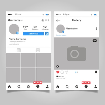 Conception de modèle d'interface de profil instagram