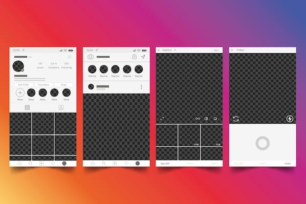 Conception de modèle d'interface de profil instagram